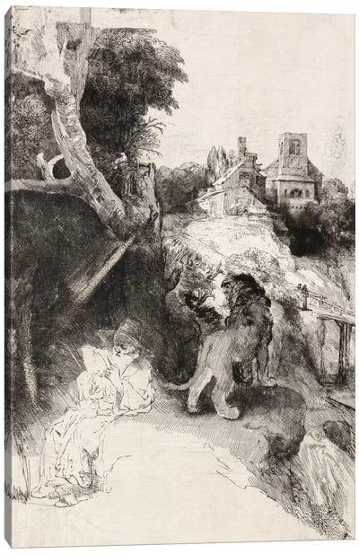 Saint Jerome Reading in an Italian Landscape Canvas Art Print