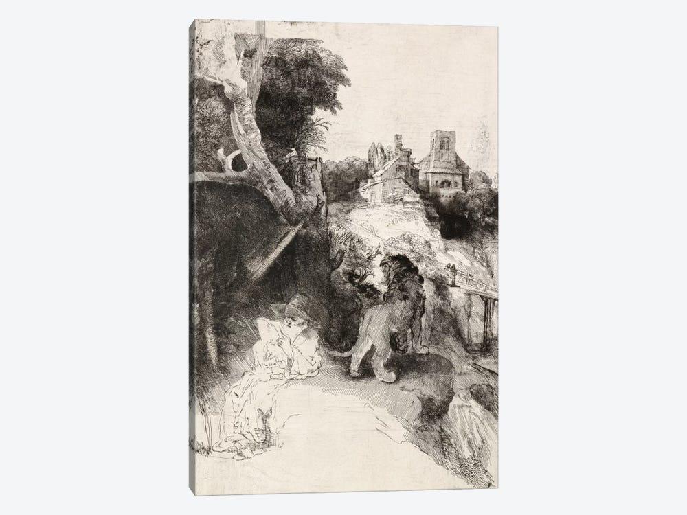 Saint Jerome Reading in an Italian Landscape by Rembrandt van Rijn 1-piece Canvas Artwork
