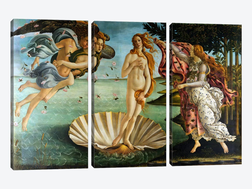 Birth of Venus by Sandro Botticelli 3-piece Canvas Art Print