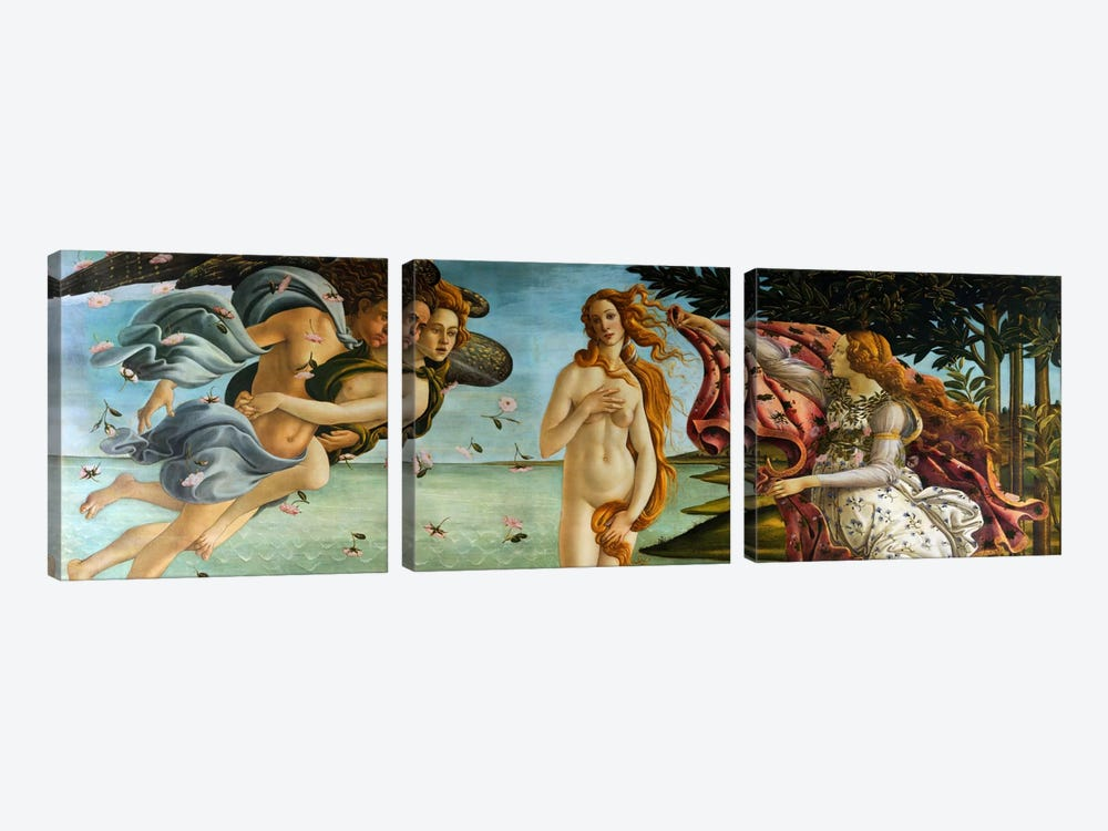 Birth of Venus by Sandro Botticelli 3-piece Canvas Art