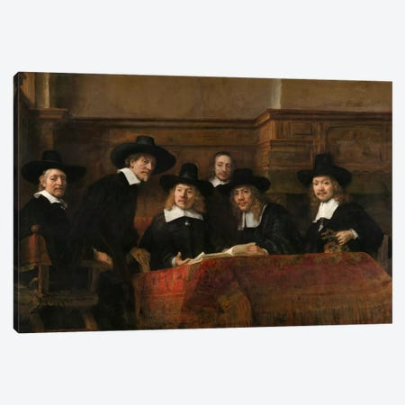 The Sampling Officials or Syndics of the Drapers' Guild Canvas Print #14140} by Rembrandt van Rijn Canvas Art