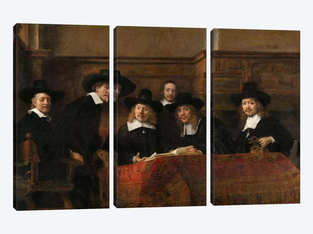 The Sampling Officials or Syndics of the Drapers' Guild by Rembrandt van Rijn 3-piece Canvas Art Print