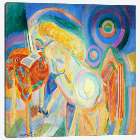 Femme nue lisant (Nude Woman Reading) Canvas Print #14145} by Robert Delaunay Canvas Art Print