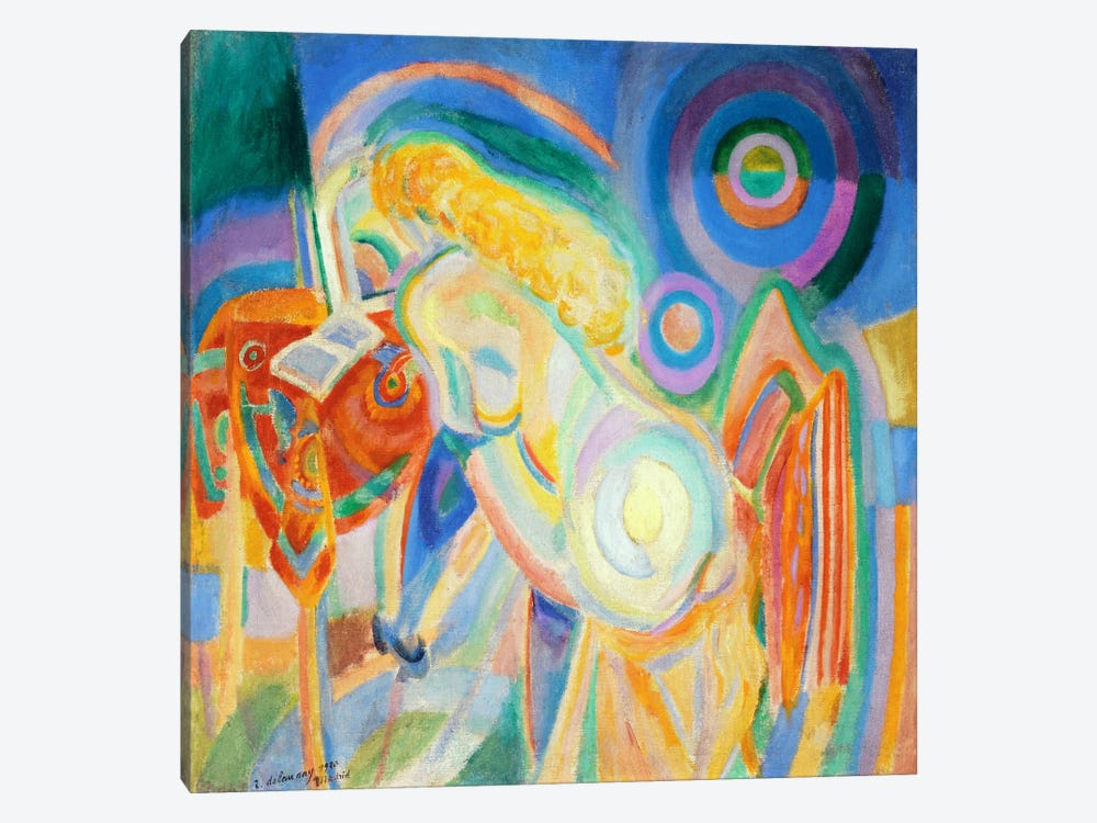 Femme nue lisant (Nude Woman Reading) by Robert Delaunay 1-piece Canvas Art
