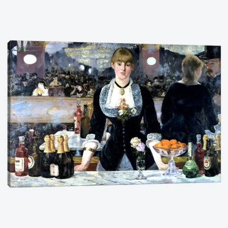 Bar At The Folies Bergeres Canvas Print #1423} by Edouard Manet Canvas Artwork
