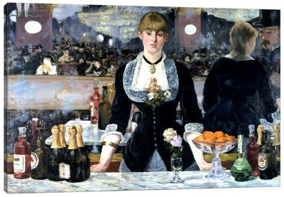 Bar At The Folies Bergeres by Edouard Manet Canvas Artwork