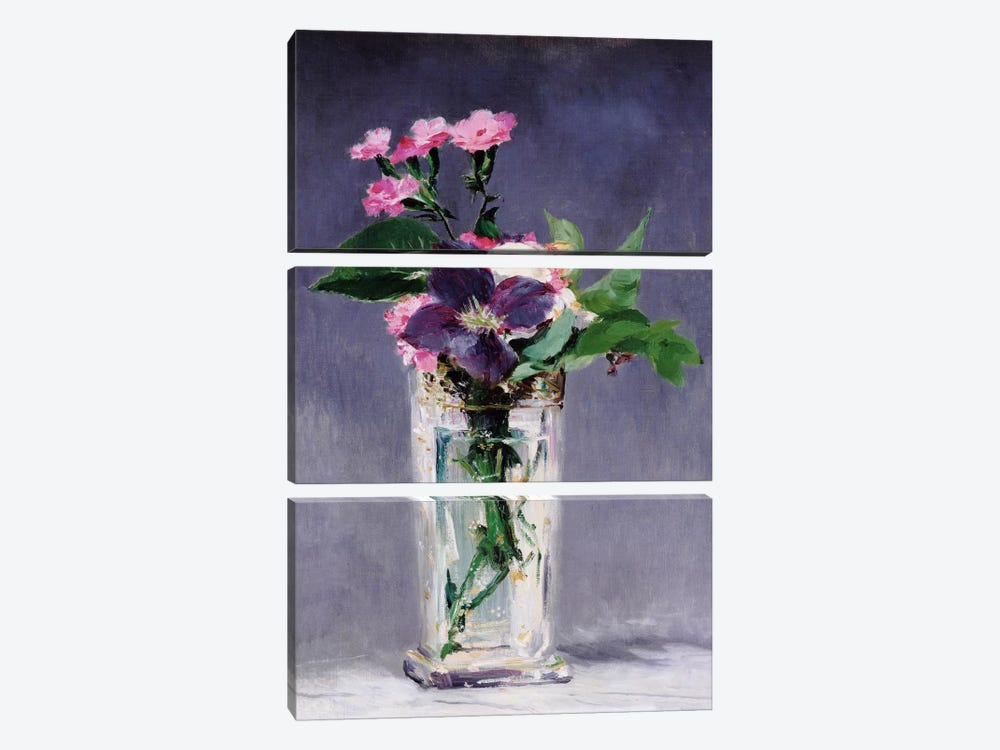 Ragged Robins and Clematis by Edouard Manet 3-piece Art Print