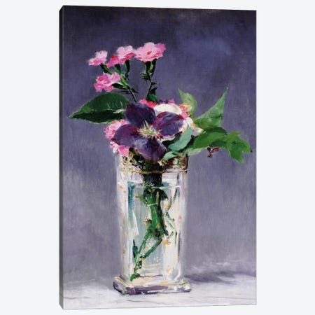 Ragged Robins and Clematis 3-Piece Canvas #1424} by Edouard Manet Canvas Print