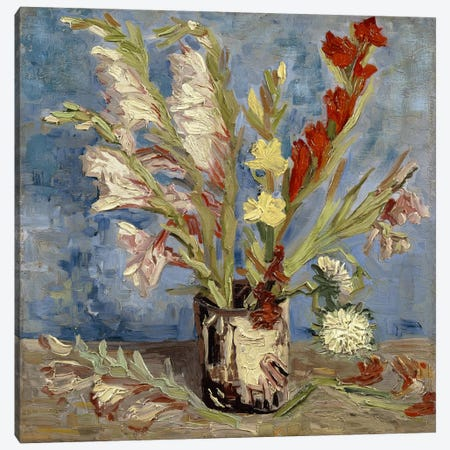 Vase With Gladioli & China Asters, 1886 Canvas Print #14261} by Vincent van Gogh Art Print