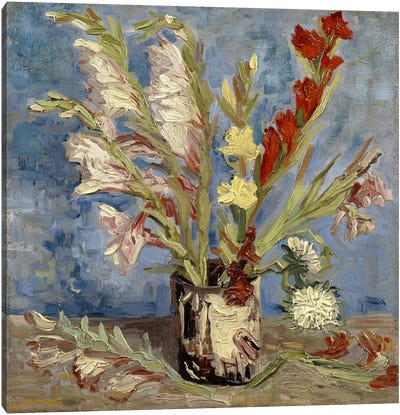 Vase With Gladioli & China Asters1886 Canvas Print #14261
