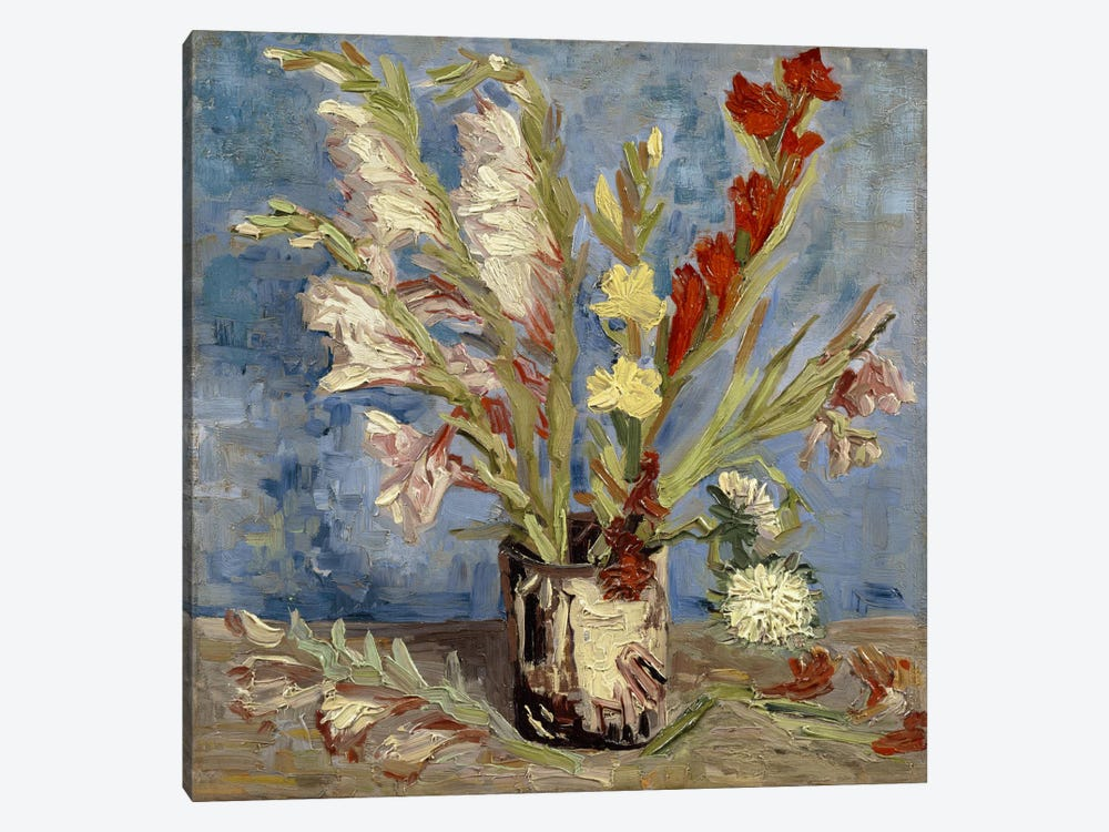 Vase With Gladioli & China Asters, 1886 by Vincent van Gogh 1-piece Canvas Wall Art
