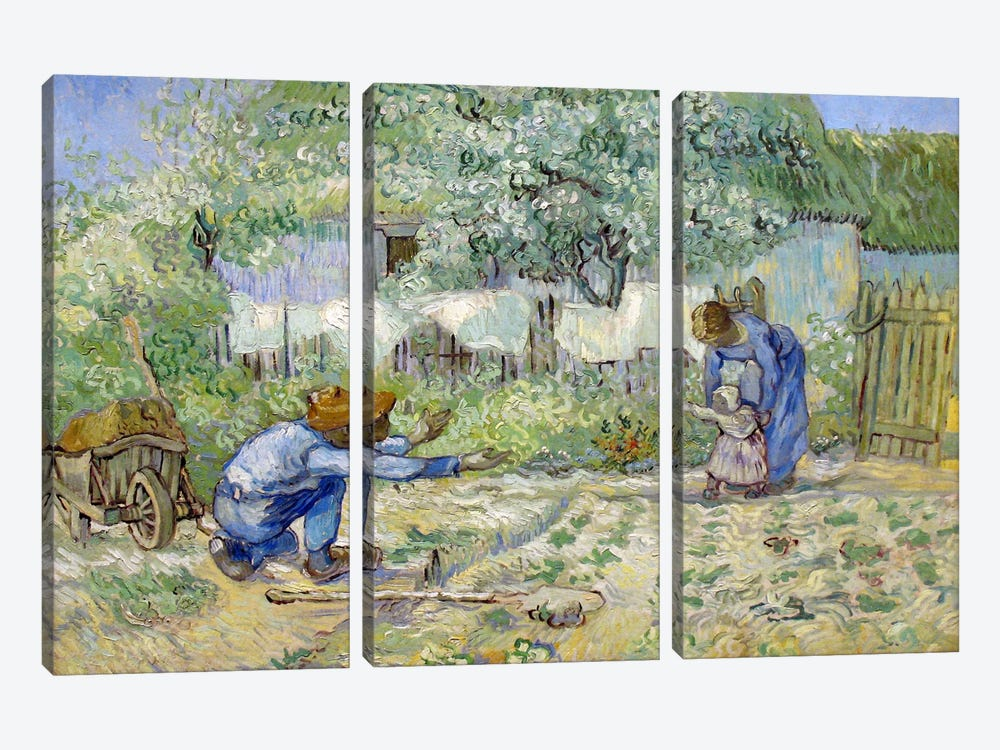 First Steps (After Millet) by Vincent van Gogh 3-piece Canvas Artwork