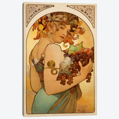 Fruit Canvas Print #1429} by Alphonse Mucha Canvas Art