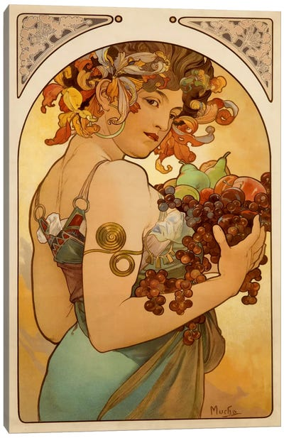 Fruit by Alphonse Mucha Canvas Art