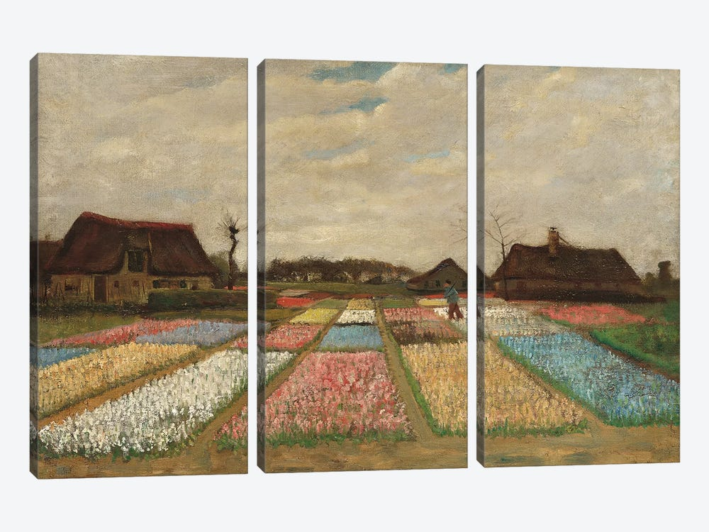 Tulpenfelder (Tulip Fields) by Vincent van Gogh 3-piece Canvas Art Print