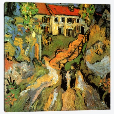 Village Street & Steps in Auvers With Two Figures Canvas Print #14312} by Vincent van Gogh Art Print