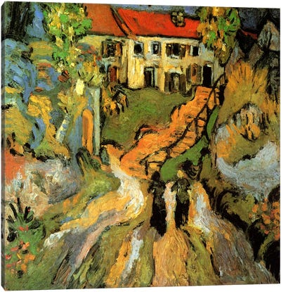 Village Street & Steps in Auvers With Two Figures Canvas Art Print