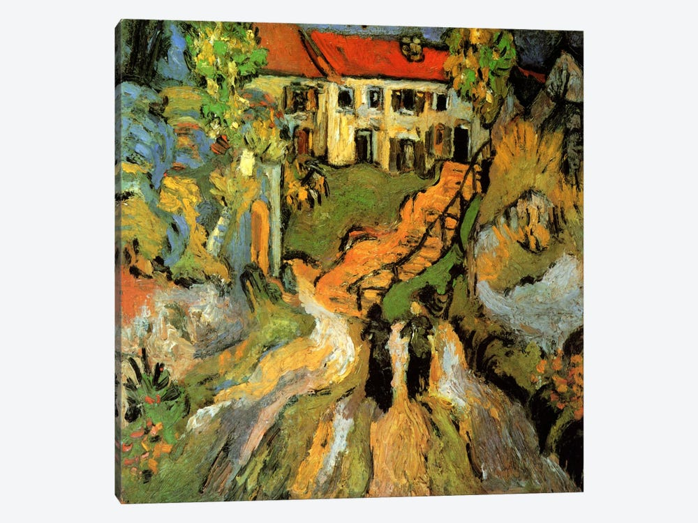 Village Street & Steps in Auvers With Two Figures by Vincent van Gogh 1-piece Art Print