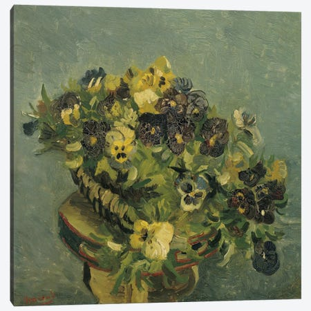 Basket of Pansies on a Small Table Canvas Print #14325} by Vincent van Gogh Canvas Art Print