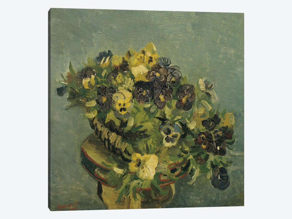 Basket of Pansies on a Small Table by Vincent van Gogh 1-piece Canvas Art Print