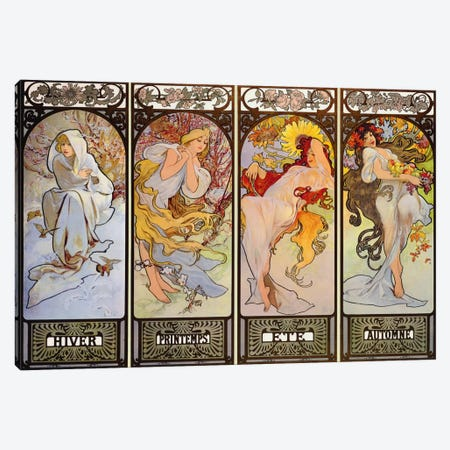 Les Saisons Canvas Print #1432} by Alphonse Mucha Canvas Art Print