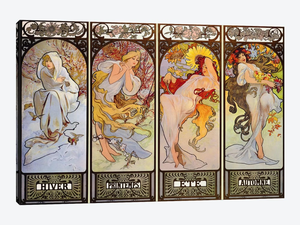 Les Saisons by Alphonse Mucha 1-piece Canvas Art