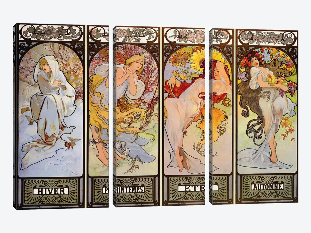 Les Saisons by Alphonse Mucha 3-piece Canvas Artwork