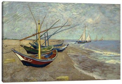 Fishing Boats on the Beach at les Saintes Maries de la Mer Canvas Art Print