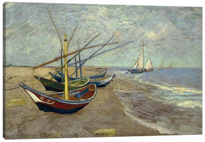Fishing Boats on the Beach at les Saintes Maries de la Mer Canvas Art Print