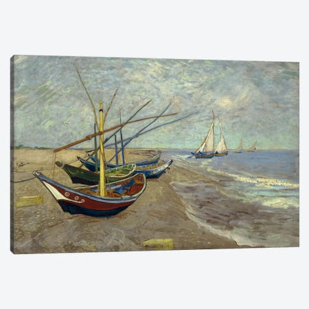 Fishing Boats on the Beach at les Saintes Maries de la Mer Canvas Print #14338} by Vincent van Gogh Canvas Art Print