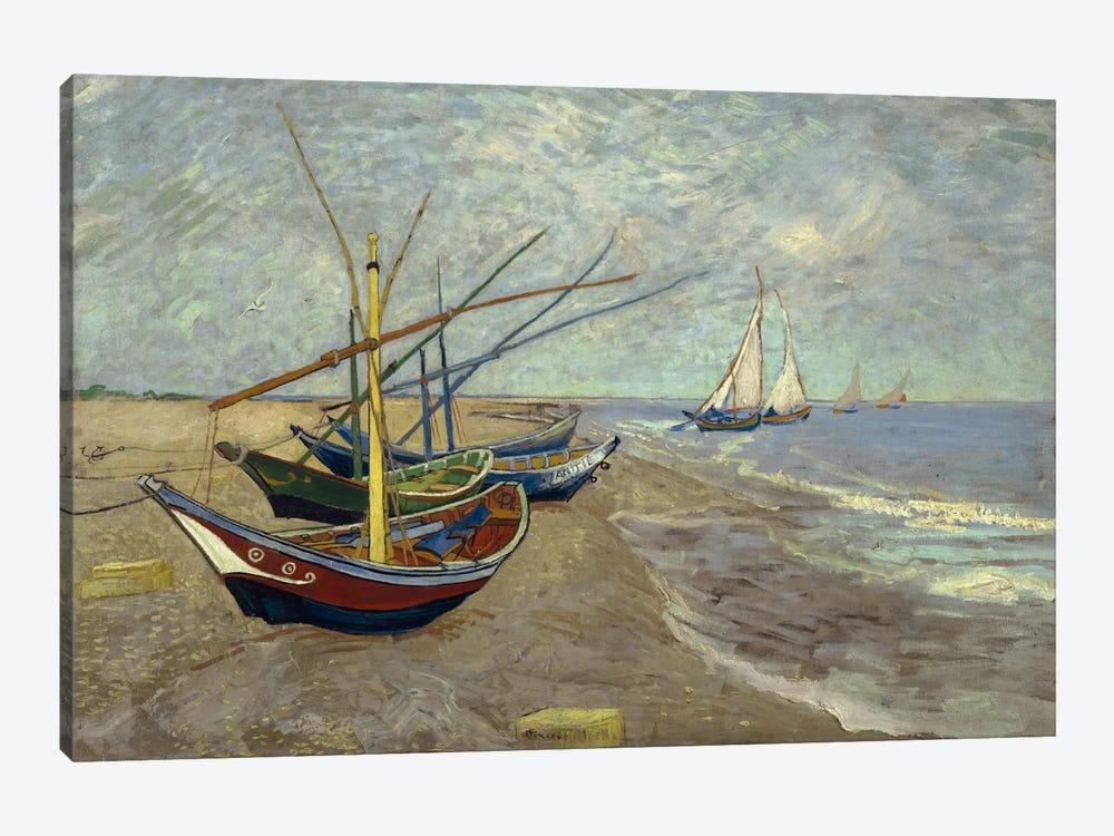 Fishing Boats on the Beach at les Saintes Maries de la Mer by Vincent van Gogh 1-piece Canvas Art Print