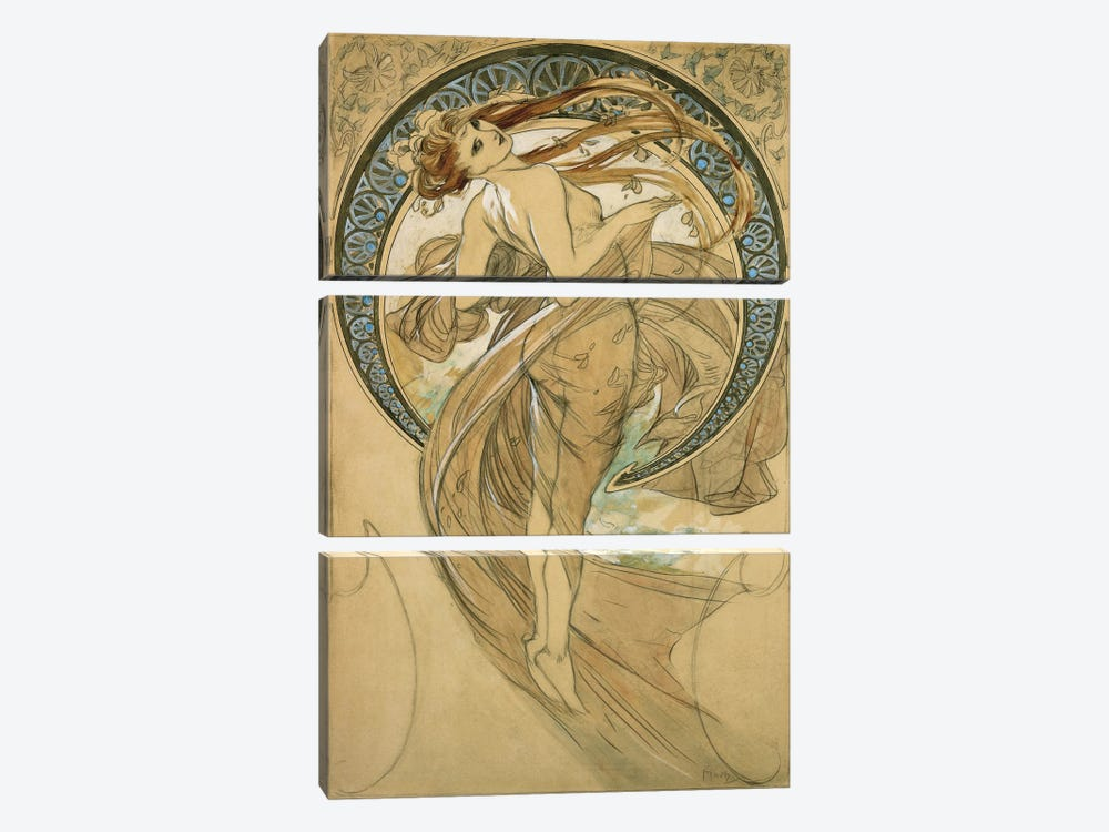 Study For La Danse by Alphonse Mucha 3-piece Canvas Print