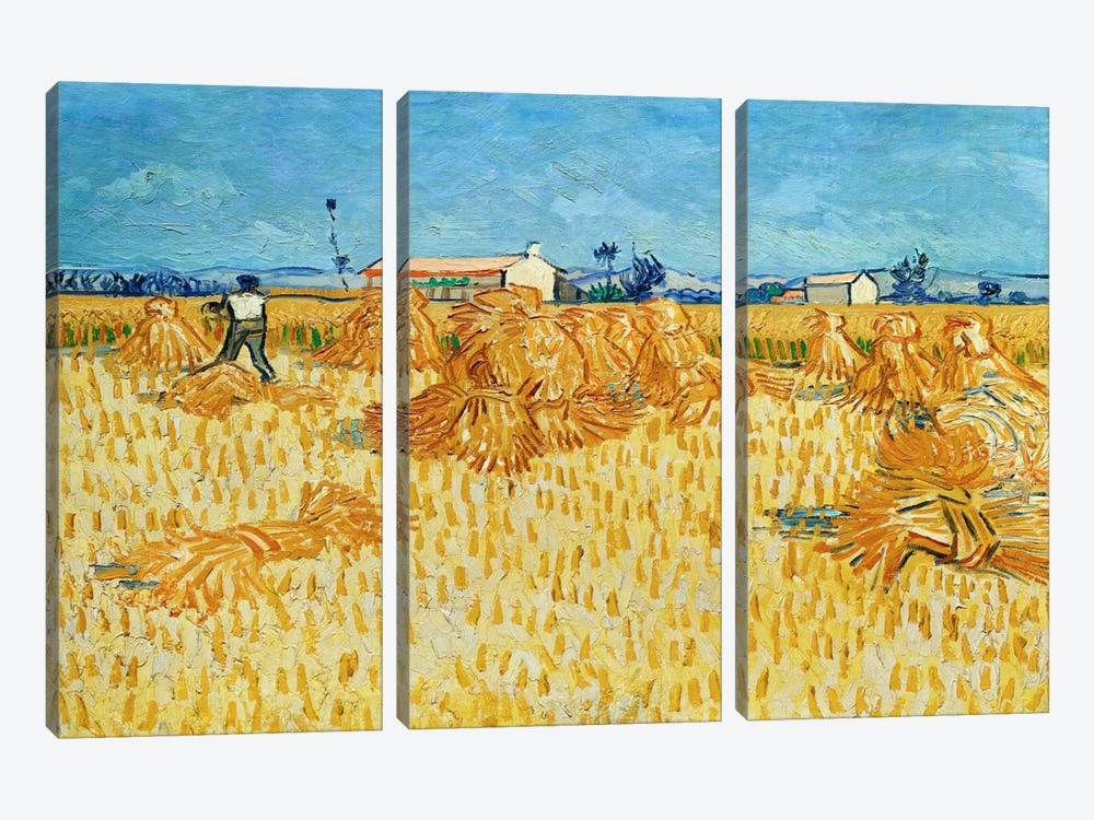 Harvest in Provence by Vincent van Gogh 3-piece Art Print