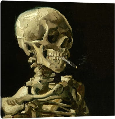 Head of a Skeleton With a Burning Cigarette Canvas Art Print
