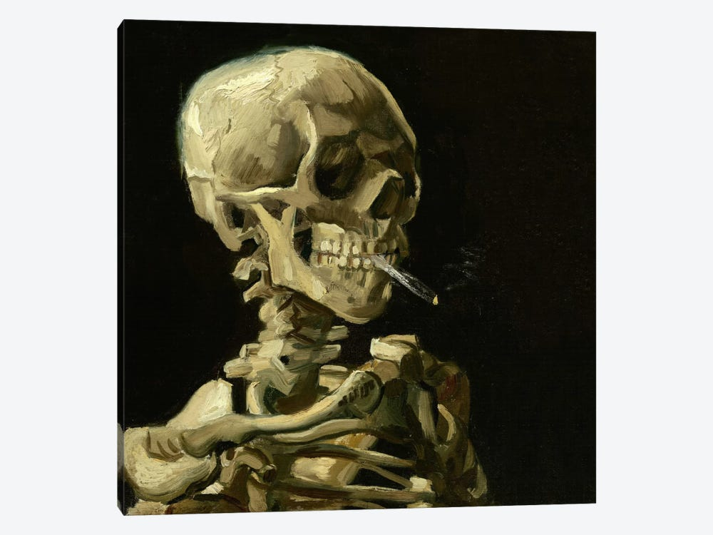 Head of a Skeleton With a Burning Cigarette by Vincent van Gogh 1-piece Canvas Artwork