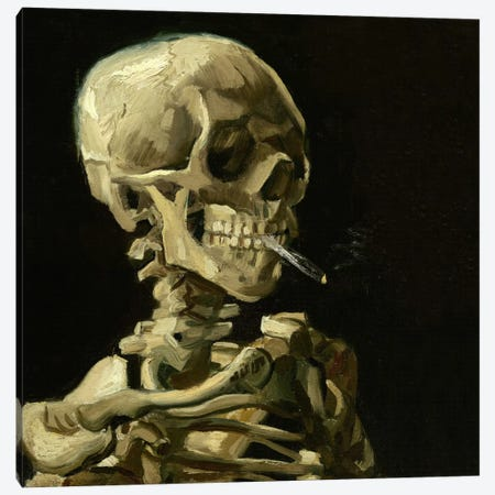 Head of a Skeleton With a Burning Cigarette Canvas Print #14348} by Vincent van Gogh Canvas Art