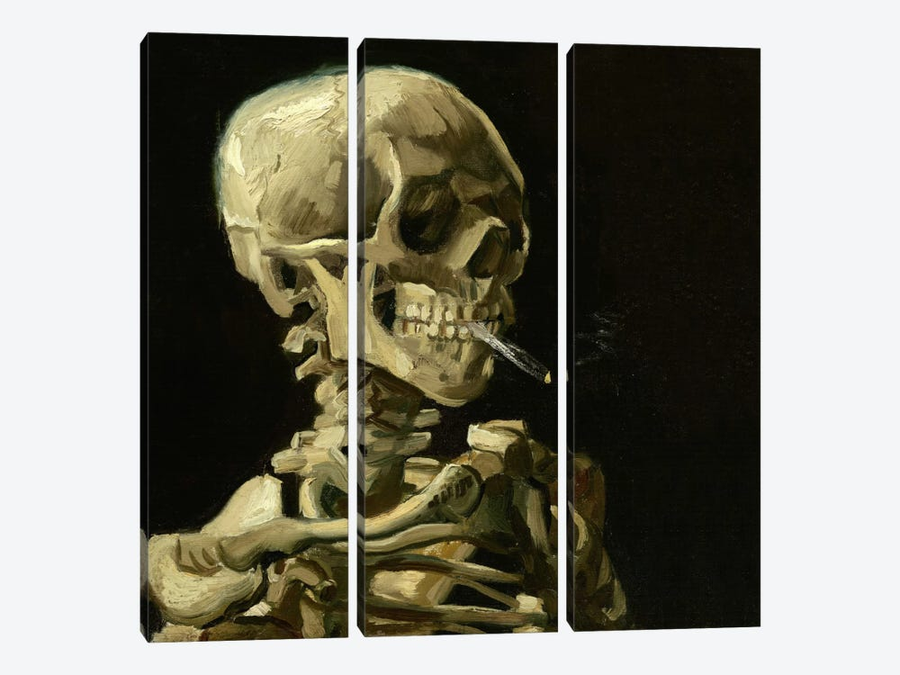 Head of a Skeleton With a Burning Cigarette by Vincent van Gogh 3-piece Canvas Art