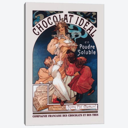 Chocolat Ideal Canvas Print #1434} by Alphonse Mucha Canvas Artwork