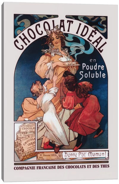 Chocolat Ideal by Alphonse Mucha Canvas Artwork