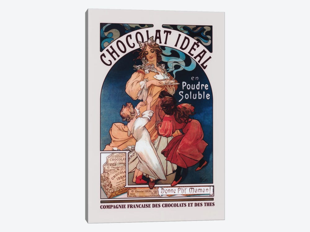 Chocolat Ideal by Alphonse Mucha 1-piece Canvas Art