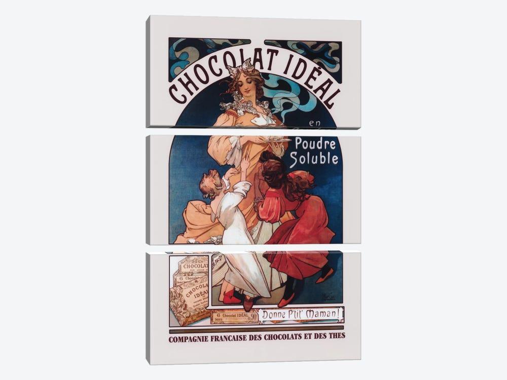 Chocolat Ideal by Alphonse Mucha 3-piece Canvas Artwork