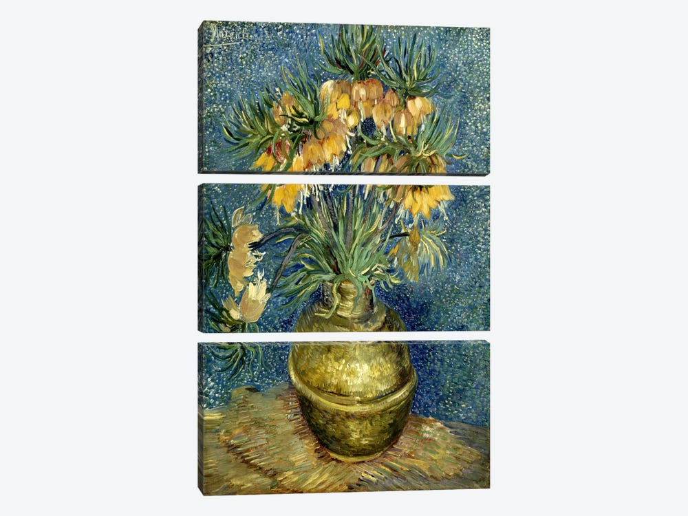 Crown Imperial Fritillaries in a Copper Vase by Vincent van Gogh 3-piece Canvas Art Print