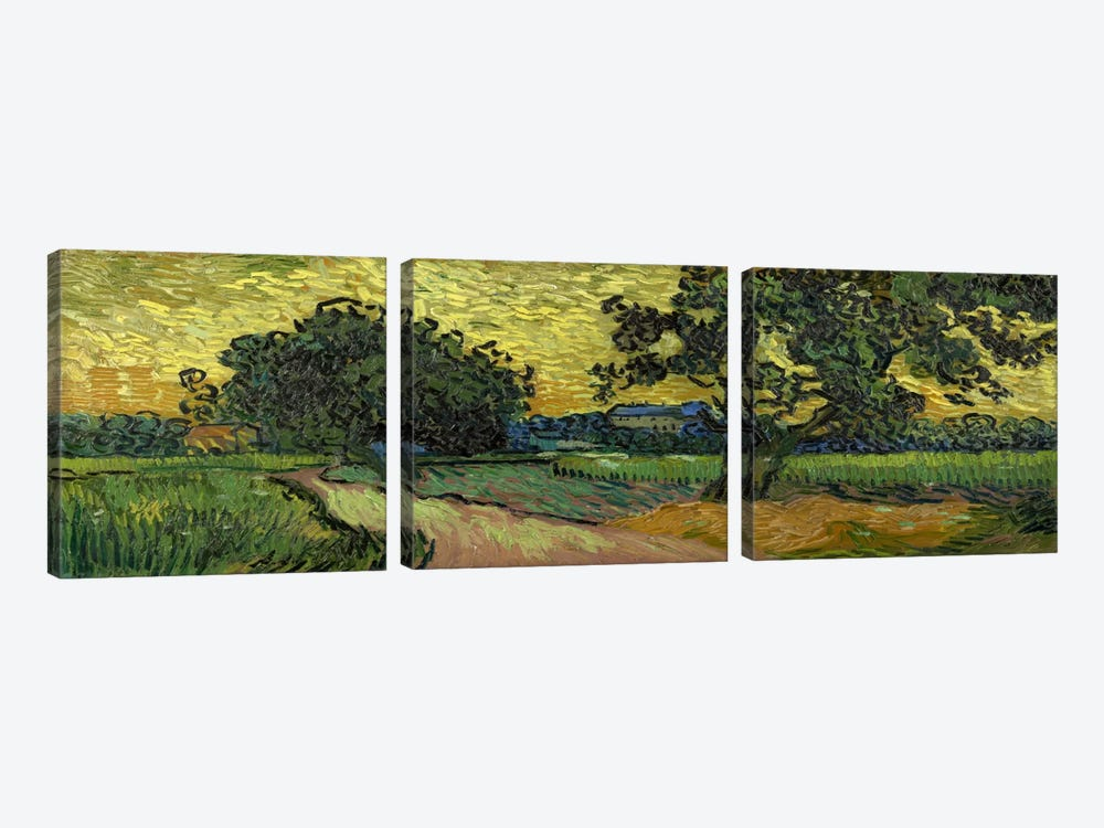 Landscape at Twilight by Vincent van Gogh 3-piece Canvas Artwork