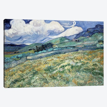 Landscape at Saint-Remy Canvas Print #14360} by Vincent van Gogh Canvas Artwork