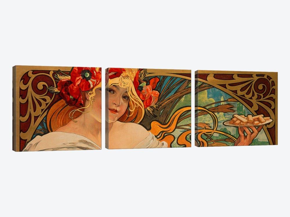 Biscuits Lefevre Utile by Alphonse Mucha 3-piece Canvas Art Print