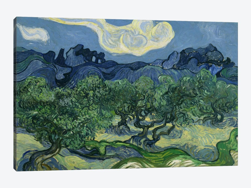 Olive Trees with the Alpilles in the Background by Vincent van Gogh 1-piece Canvas Art Print