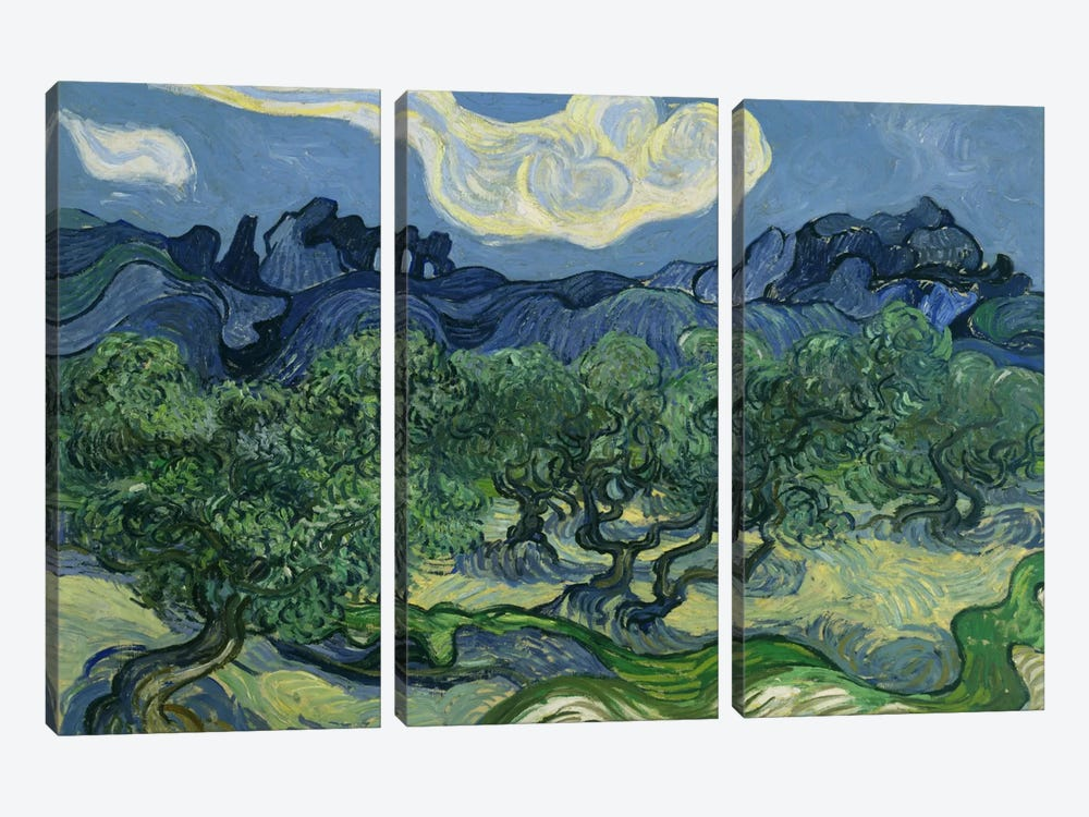 Olive Trees with the Alpilles in the Background by Vincent van Gogh 3-piece Canvas Art Print