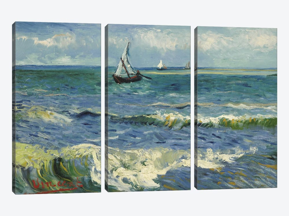 Seascape Near Les Saintes Maries de la Mer by Vincent van Gogh 3-piece Canvas Artwork