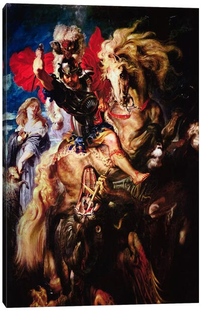St. George and The Dragon by Peter Paul Rubens Canvas Art Print