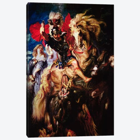 St. George and The Dragon Canvas Print #1438} by Peter Paul Rubens Canvas Art Print